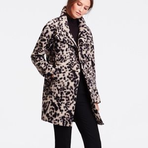 Ann Taylor Spotted Leopard Statement Wool Coat